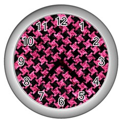 Houndstooth2 Black Marble & Pink Marble Wall Clock (silver) by trendistuff