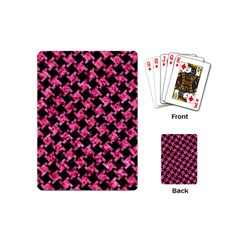 Houndstooth2 Black Marble & Pink Marble Playing Cards (mini) by trendistuff