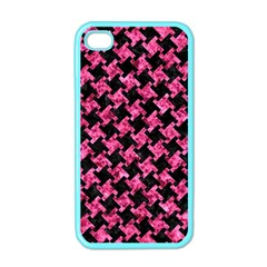 Houndstooth2 Black Marble & Pink Marble Apple Iphone 4 Case (color) by trendistuff