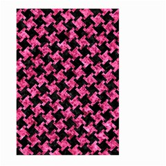 Houndstooth2 Black Marble & Pink Marble Large Garden Flag (two Sides) by trendistuff