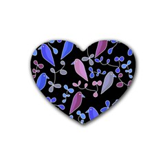 Flowers And Birds   Blue And Purple Rubber Coaster (heart)  by Valentinaart