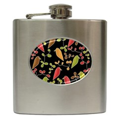 Flowers And Birds  Hip Flask (6 Oz) by Valentinaart