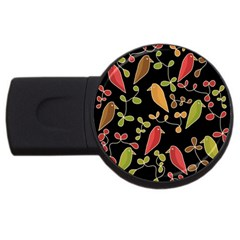 Flowers And Birds  Usb Flash Drive Round (4 Gb)  by Valentinaart