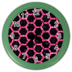 Hexagon2 Black Marble & Pink Marble Color Wall Clock
