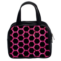 Hexagon2 Black Marble & Pink Marble Classic Handbag (two Sides) by trendistuff