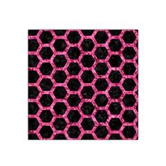 Hexagon2 Black Marble & Pink Marble Satin Bandana Scarf by trendistuff