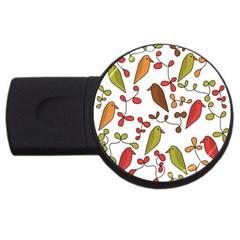 Birds And Flowers 3 Usb Flash Drive Round (4 Gb)  by Valentinaart