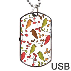 Birds And Flowers 3 Dog Tag Usb Flash (one Side) by Valentinaart