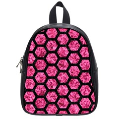 Hexagon2 Black Marble & Pink Marble (r) School Bag (small) by trendistuff