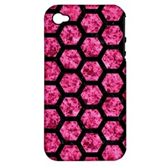 Hexagon2 Black Marble & Pink Marble (r) Apple Iphone 4/4s Hardshell Case (pc+silicone) by trendistuff