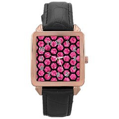 Hexagon2 Black Marble & Pink Marble (r) Rose Gold Leather Watch