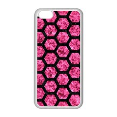 Hexagon2 Black Marble & Pink Marble (r) Apple Iphone 5c Seamless Case (white)