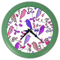 Flowers And Birds Pink Color Wall Clocks by Valentinaart