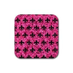 Royal1 Black Marble & Pink Marble Rubber Square Coaster (4 Pack) by trendistuff