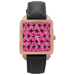 Royal1 Black Marble & Pink Marble Rose Gold Leather Watch  by trendistuff