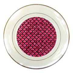 Scales1 Black Marble & Pink Marble (r) Porcelain Plate by trendistuff