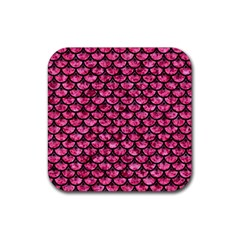 Scales3 Black Marble & Pink Marble (r) Rubber Coaster (square) by trendistuff