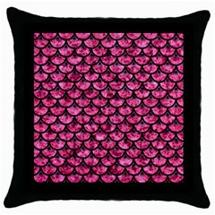 Scales3 Black Marble & Pink Marble (r) Throw Pillow Case (black) by trendistuff
