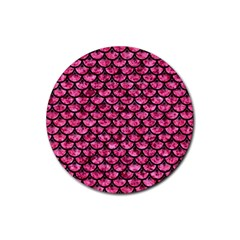 Scales3 Black Marble & Pink Marble (r) Rubber Coaster (round) by trendistuff