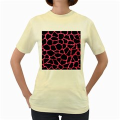 Skin1 Black Marble & Pink Marble (r) Women s Yellow T Shirt by trendistuff