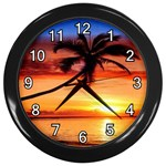 TROPICAL SUNSET WALL CLOCK (BLACK)