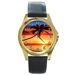 TROPICAL SUNSET PALM TREE ROUND GOLD METAL WATCH