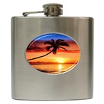 TROPICAL SUNSET STAINLESS STEEL HIP FLASK (6 OZ)