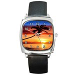 TROPICAL SUNSET SQUARE METAL WATCH