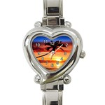TROPICAL SUNSET HEART ITALIAN CHARM WATCH