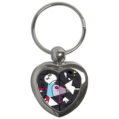 Abstract Bird Key Chains (heart)  by Moma