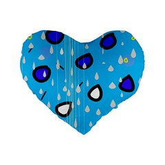 Rainy Day   Blue Standard 16  Premium Flano Heart Shape Cushions by Moma