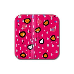 Rainy Day   Pink Rubber Square Coaster (4 Pack)  by Moma