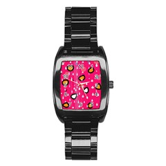 Rainy Day   Pink Stainless Steel Barrel Watch