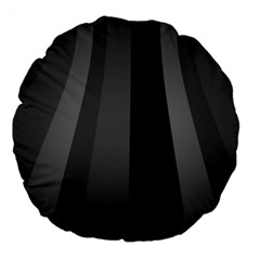 Black Minimalistic Gray Stripes Large 18  Premium Flano Round Cushions by AnjaniArt