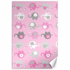 Animals Elephant Pink Cute Canvas 20  X 30   by AnjaniArt