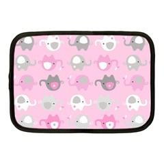 Animals Elephant Pink Cute Netbook Case (medium)  by AnjaniArt
