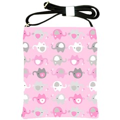 Animals Elephant Pink Cute Shoulder Sling Bags by AnjaniArt