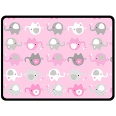 Animals Elephant Pink Cute Double Sided Fleece Blanket (large)  by AnjaniArt
