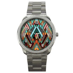 Abstract Mosaic Color Box Sport Metal Watch by AnjaniArt