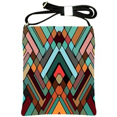 Abstract Mosaic Color Box Shoulder Sling Bags by AnjaniArt
