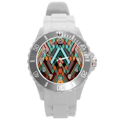 Abstract Mosaic Color Box Round Plastic Sport Watch (l) by AnjaniArt