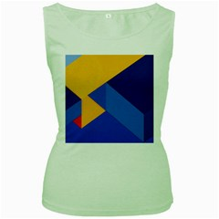 Box Yellow Blue Red Women s Green Tank Top by AnjaniArt
