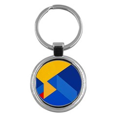 Box Yellow Blue Red Key Chains (round)  by AnjaniArt