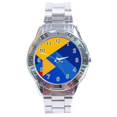 Box Yellow Blue Red Stainless Steel Analogue Watch by AnjaniArt