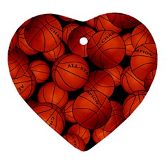 Basketball Sport Ball Champion All Star Heart Ornament (2 Sides) by AnjaniArt