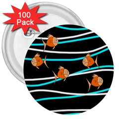 Five Orange Fish 3  Buttons (100 Pack)  by Valentinaart