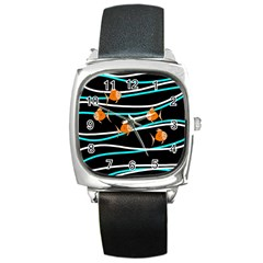 Five Orange Fish Square Metal Watch by Valentinaart