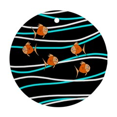 Five Orange Fish Round Ornament (two Sides)  by Valentinaart