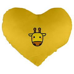 Cute Face Giraffe Large 19  Premium Flano Heart Shape Cushions by AnjaniArt