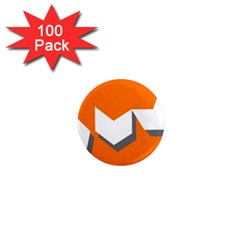 Cute Orange Chevron 1  Mini Magnets (100 pack)